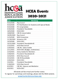 Mark Your Calendar for these HCEA Events